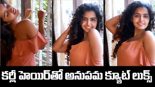 Anupama Parameswaran Cute Looks with Curly Hair