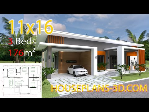 3D Three Bedroom Plan 11x16m with 3 bedrooms