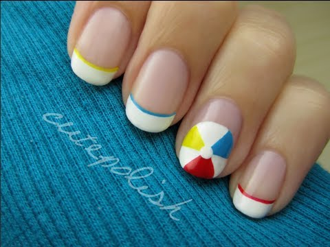 Beach Ball Nail Art - YouTube