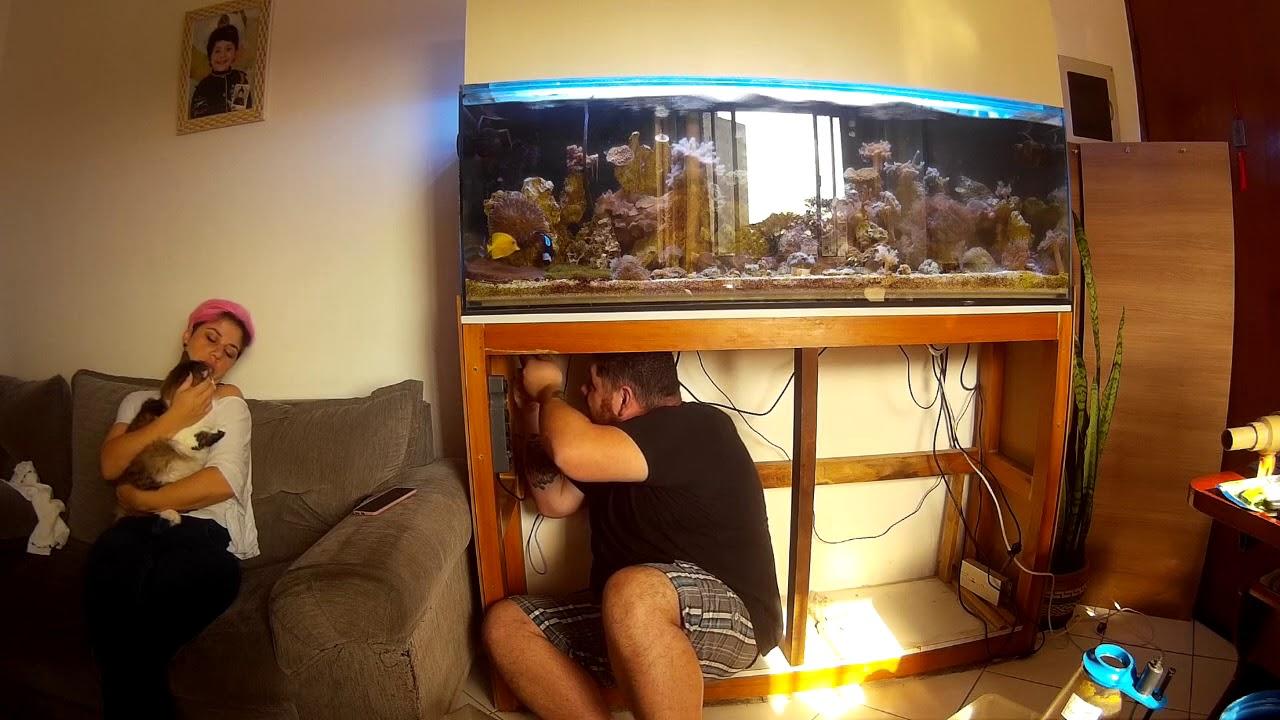 Removendo o sump e concertando o vazamento - Reef in House