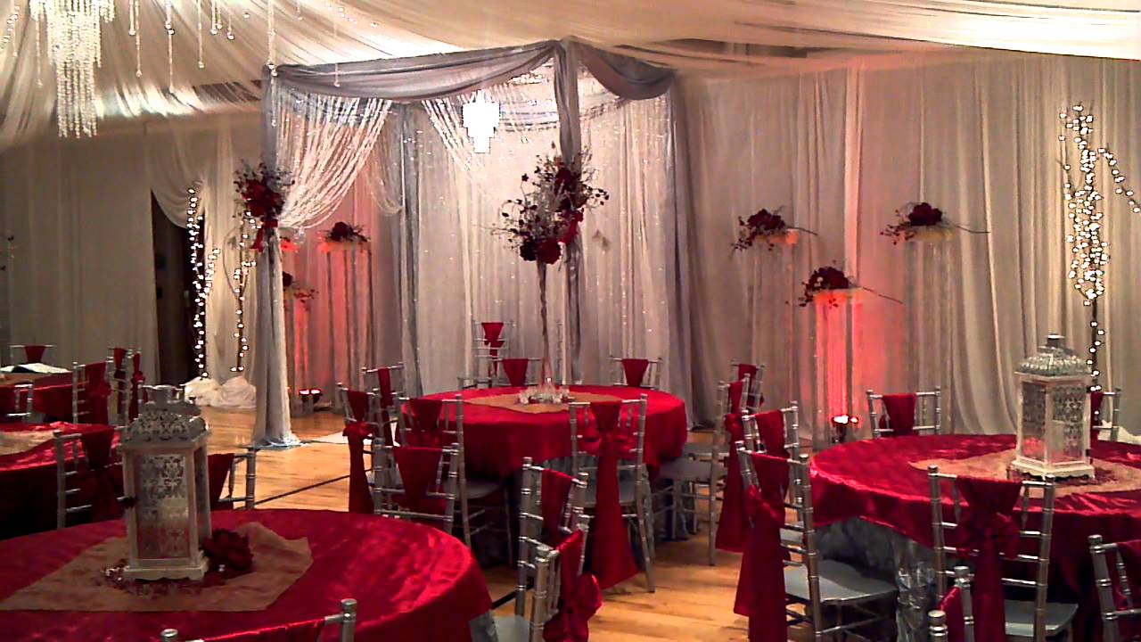 Silver red and gold wedding youtube for 25th wedding anniversary stage decoration