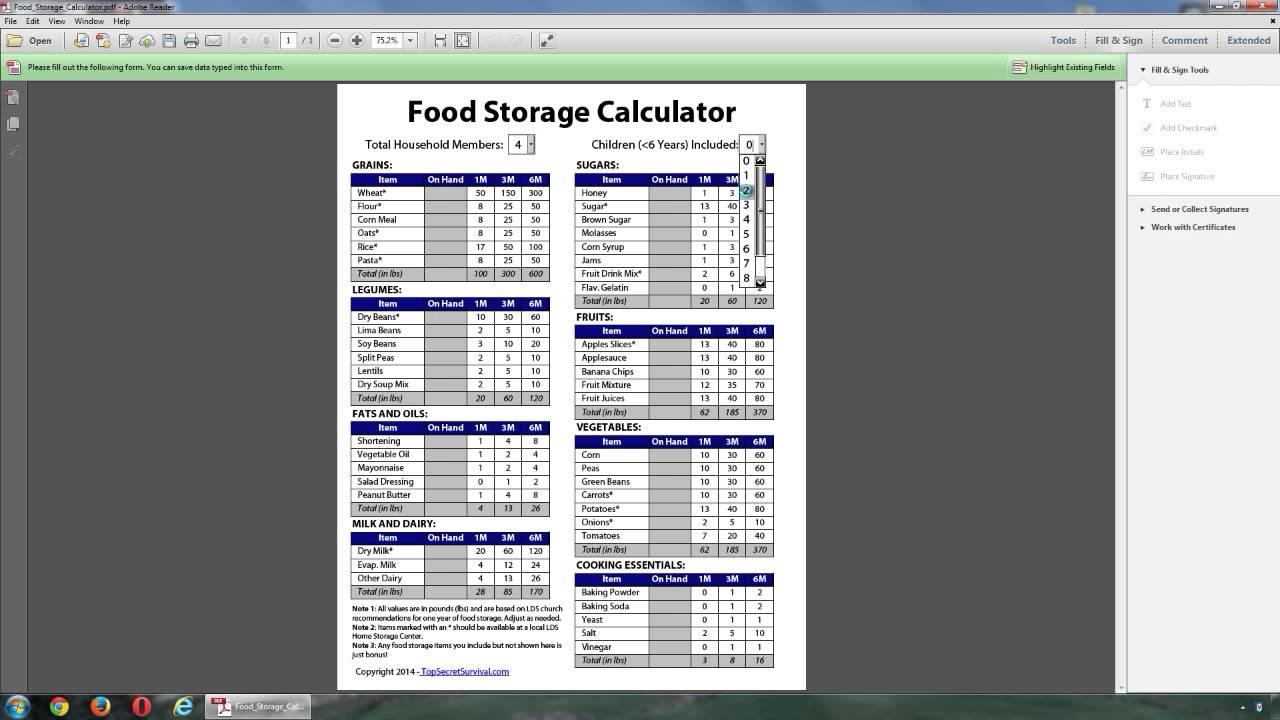 Food Storage Calculator Youtube