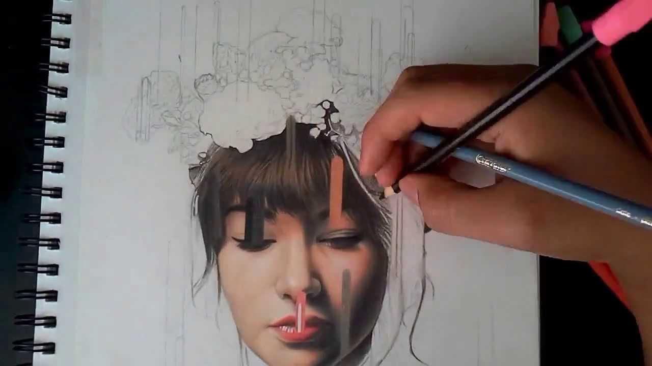 Dibujo Realista Con Lapices De Coloresdesintegracion De Color