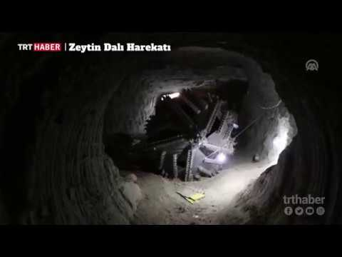 Afrin'de, teröristlerin iş makineleriyle tepelerin içine açtığı tüneller