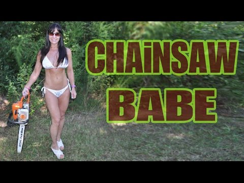 naked women with chainsaw