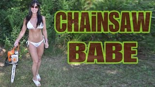 48 Year Old BEAUTIFUL LUMBERJACK CHAINSAW SURVIVAL CHICK! Farm Girl