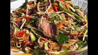 Khmer Food -Grilled Beef Salad with Tamarind Sauce ភ្លាសាច់គោអាំង