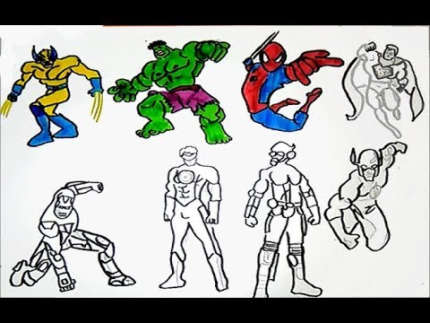 ALL SUPERHEROES Coloring pages HULK, IRON MAN, SPIDERMAN, SUPERMAN