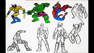ALL SUPERHEROES  Coloring pages HULK, IRON MAN, SPIDERMAN, SUPERMAN, WOLVERINE,FLASH drawing colors
