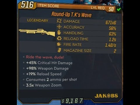 Borderlands 3 T K's Wave Legendary Shotgun And Red Text Effects