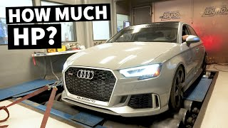homepage tile video photo for Our Audi RS3 Hits the Dyno With E85, Intake, and Exhaust. How Much More WHP Will it Make??