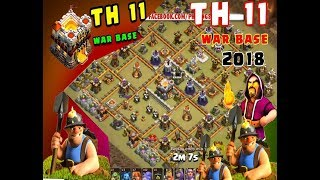 TH 11 war base 2018 | clash of clans | with replay