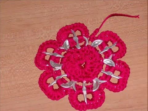 Como hacer una estrella flor con arillos de lata - Como hacer flores de ganchillo ...