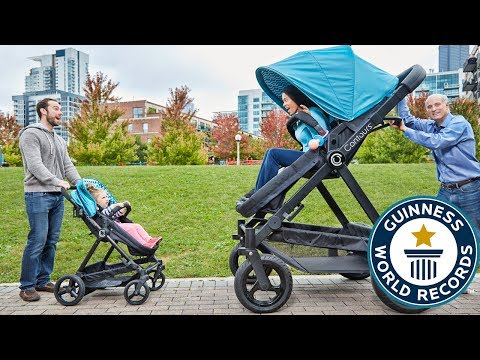 Adults try world's largest pram - Guinness World Records