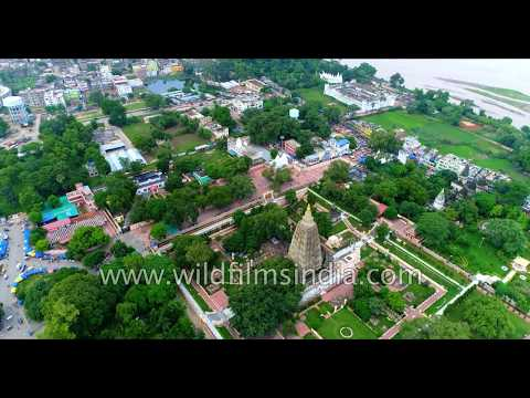 Bodhgaya - Buddhism central in India - aerial view over Mahabodhi Vihar