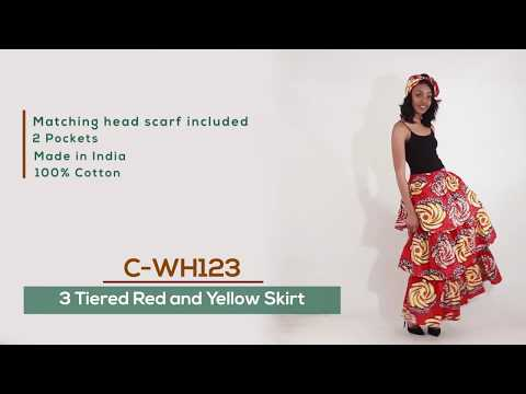 African Print Tiered Fabric Skirt: red/yellow