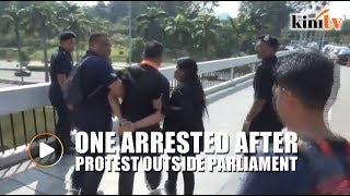 One arrested outside Parliament after protest over housing