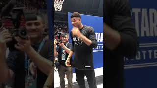 Good Guy Giannis asking Westbrook if he can hold his son
