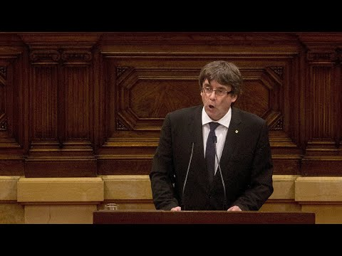 Catalan president addresses regional parliament