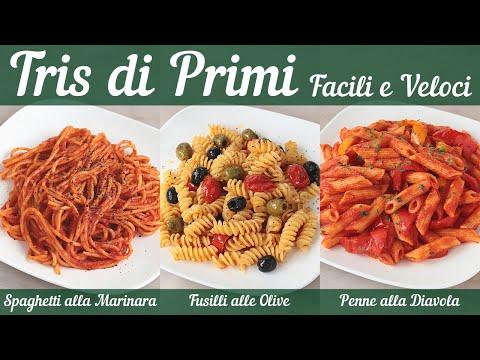 TRIS DI PRIMI FACILI E VELOCI - Spaghetti alla Marinara, Fusilli alle Olive, Penne alla Diavola