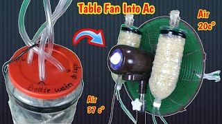 How to convert table fan into air conditioner at home | using plastic bottles and wood wool |