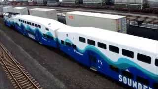 Sounder North commuter train with two passenger cars, July 24, 2014