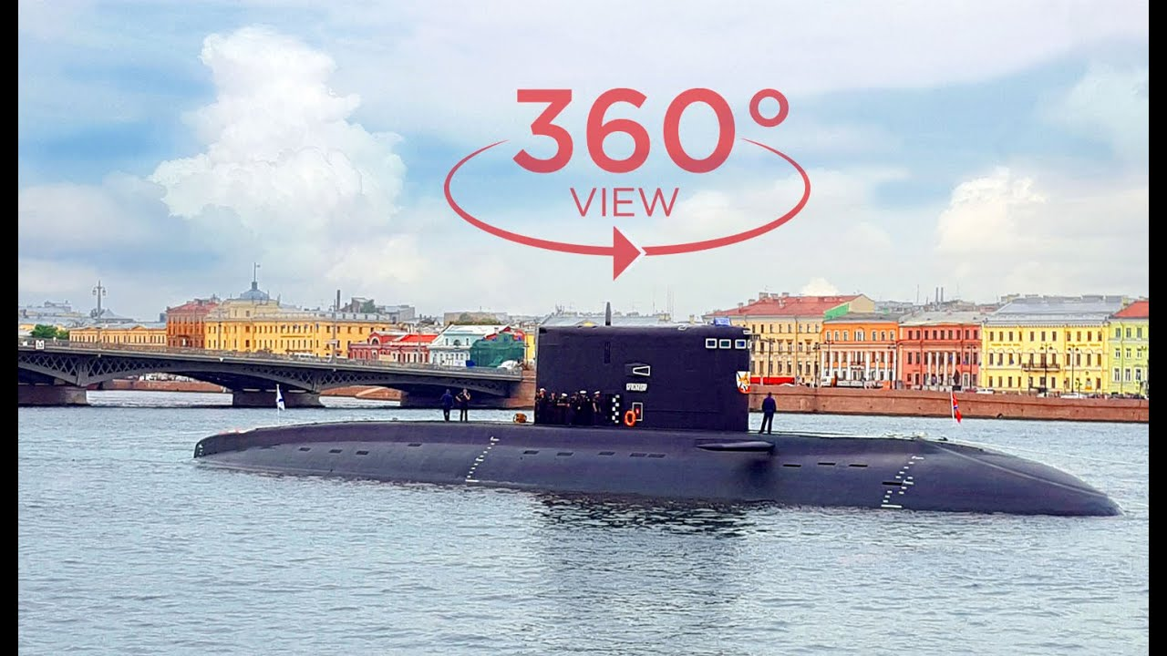 VR 360 video - russian submarine surfaced in the city center! What's happened??? (360 degree video)