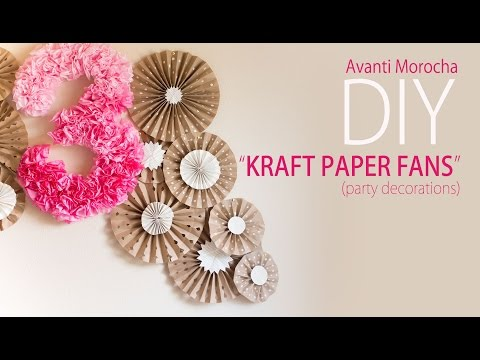 DIY Kraft Paper Fans Backdrop / Abanicos de Papel ( Party Decoration - Decoracion de Fiestas)