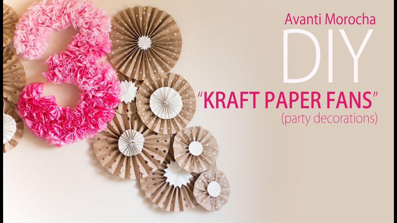 Diy Kraft Paper Fans Backdrop Abanicos De Papel Party
