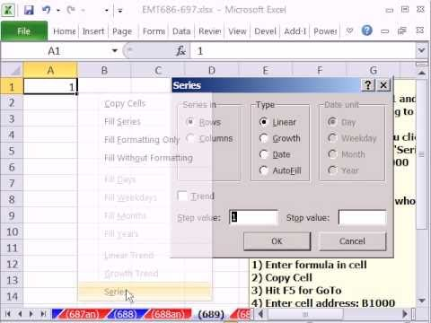 Excel Magic Trick 689: Fill Column With 1 to 1000 Two Methods: 1) Series & 2) GoTo