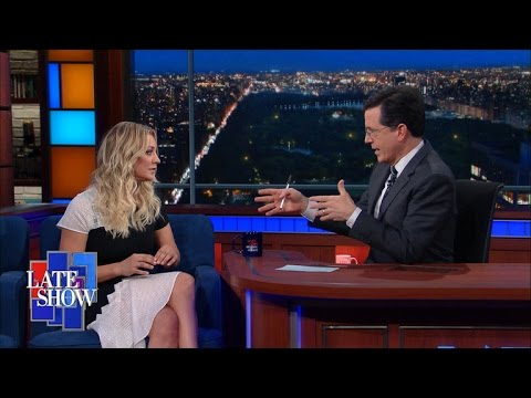Image result for kaley cuoco stephen colbert