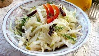 Капустный салат с грушей и черносливом