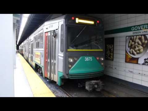 MBTA Boston T: Kinki Sharyo/Breda Green Line Train at Government Center Station