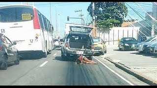 Woman shot dead; Body dragged on the streets attached to the bumper of a police truck!