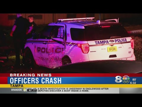Tampa police vehicles crash into each other while following stolen car