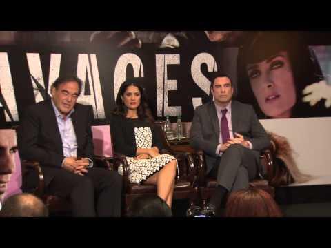 # 1 Savages Movie Press Conference in Paris Salma Hayek, John Travolta &