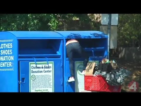 Guy stealing from donation box