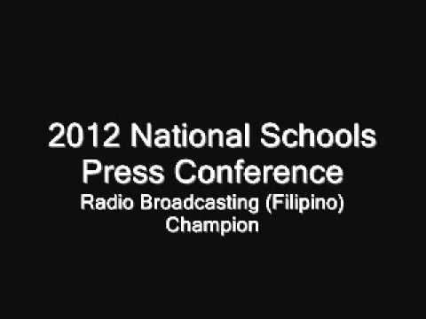 2012 National Schools Press Conference- Radio Broadcasting (Filipino) Champion