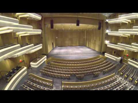 An aerial view of the Moss Arts Center - Virginia Tech