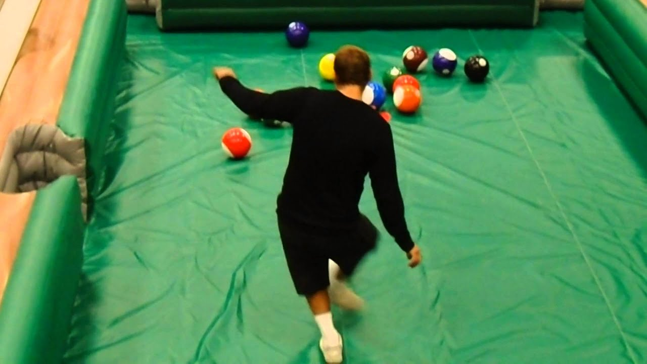 human billiards game rentals - giant human pool table game - youtube