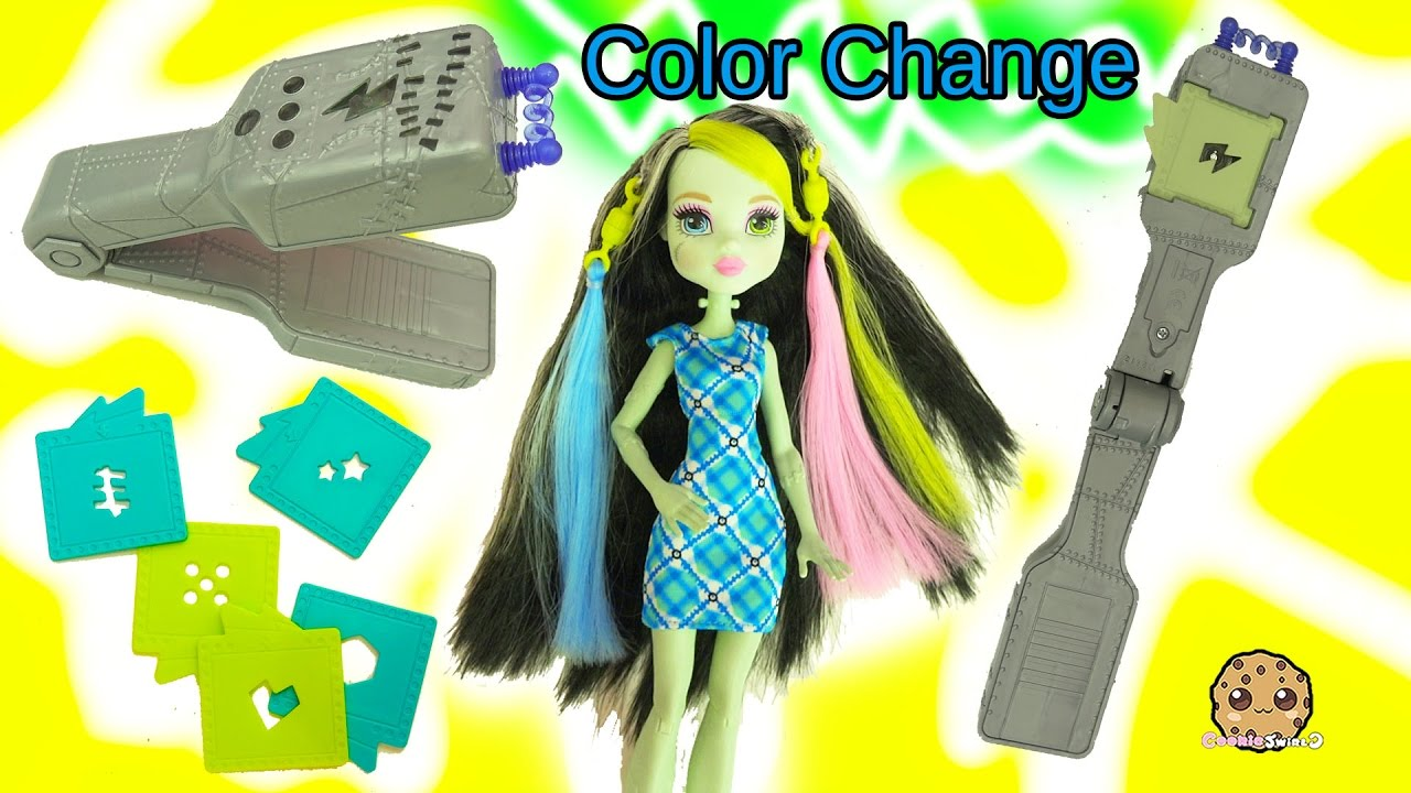 Voltageous Hair Color Change With Light Up Flat Iron On Monster High Frankie Stein Doll Youtube