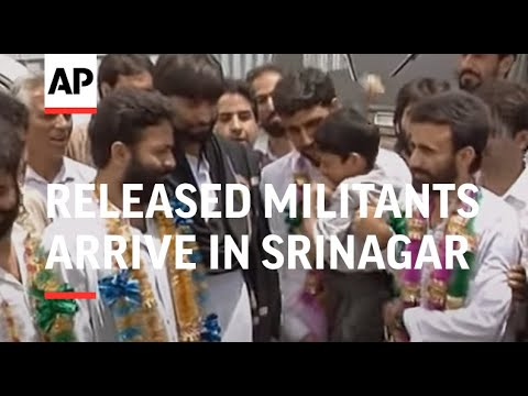 India - Released Militants Arrive In Srinagar