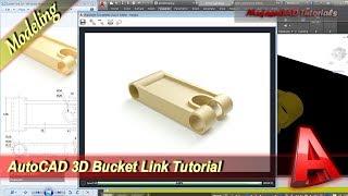 Autocad Design 3D Bucket Link Modeling Tutorial