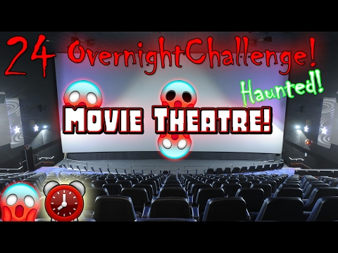24 HOUR OVERNIGHT CHALLENGE in MOVIE THEATRE // 24 HOUR OVERNIGHT IN HAUNTED ABANDONED MOVIE THEATRE