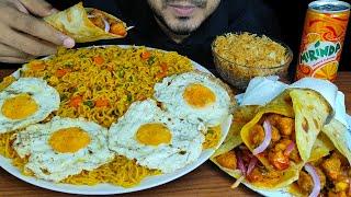 EATING MAGGI MASALA NOODLES, CHICKEN ROLL, FRIED EGGS & SEMAI | MUKBANG EATING SHOW | EATING SOUNDS