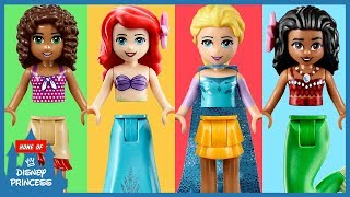 ♥ Learning Colors LEGO Disney Princess Ariel Moana Finger Family Nursery Rhymes Wrong Legs for Kids