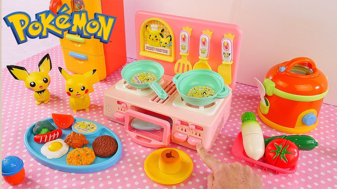 Cooking W Pokemon Toy Kitchen Velcro Food Cutting