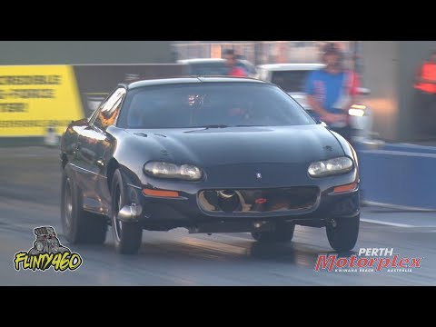 Lindsay Oosterwaal puts his Z28 Camaro through its paces at the Private Track Day held at the Perth Motorplex prior to Christmas. Running a Turbo 408 Cube ... - dirt track racing video image