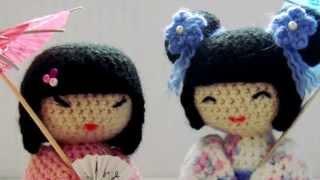 Амигуруми: схема кукол Кокеши. Игрушки вязаные крючком!