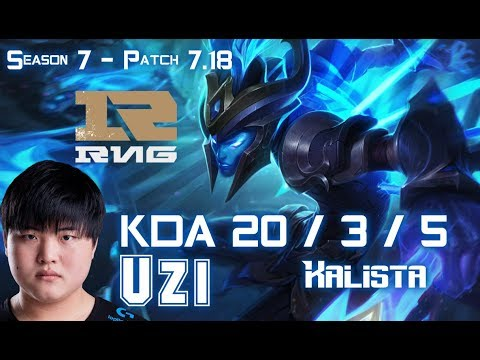 RNG Uzi KALISTA vs CAITLYN ADC - Patch 7.18 KR Ranked